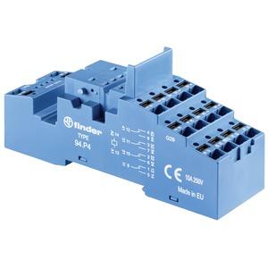 Fassung mit Push-In-Anschlüssen für Relais 55.32 oder 55.34 blau