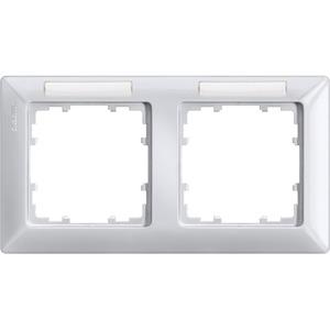 2-fach Rahmen mit Textfeld DELTA line aluminium-metallic 151x80mm waag