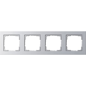4-fach Abdeckrahmen für E2 Farbe Aluminium