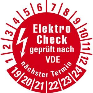 Prüfplakette Elektro-Check VDE N.Termin 19-24 rot Folie Ø20mm 10/Bogen