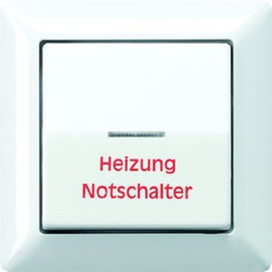 """Wippe Linse Lichtleiter """"Heizung Notschalter"""" Zentralplatte weiß"""