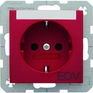 SCHUKO-Steckdose mit Beschriftungsfeld und Aufdruck S.1/B.3/B.7 - rot/ glänzend