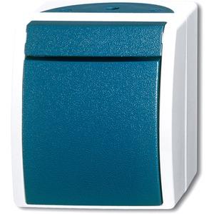 Aufputz Ausschalter 2-polig grau/blaugrün