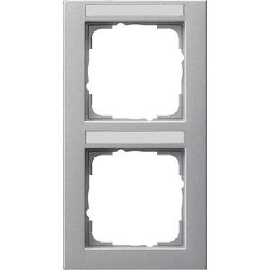 2-fach Abdeckrahmen beschriftbar senkrecht für E2 Farbe Aluminium