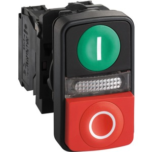 Leucht-Doppeldrucktaster 1S grün flach 1Ö rot flach +LED 24V