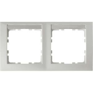 2-fach Rahmen mit Beschriftungsfeld S.1 - polarweiß/ matt - waagrecht
