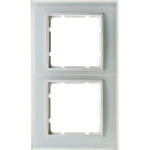 Abdeckrahmen 2-fach B.7 Glas / polarweiß senk - und waagrecht